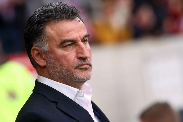 Christophe Galtier photographi épendant le match contre le FC Metz, fin avril.