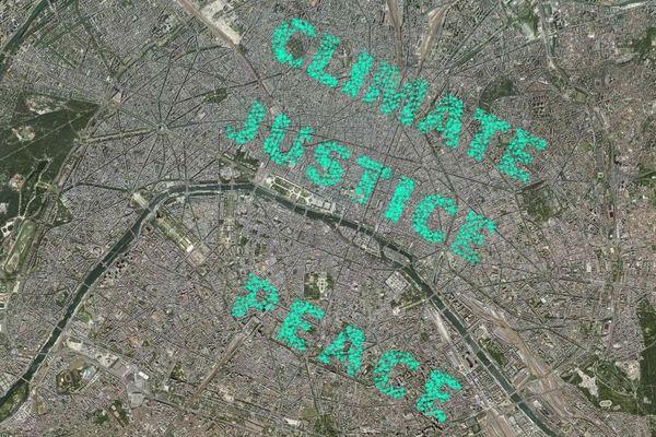 """Capture d'écran de la carte """"Climate Justice Peace"""", réalisée en marge de la COP 21."""