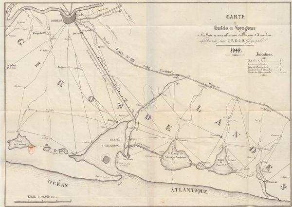 """La carte """"guide du voyageur"""" en 1845, entre Bordeaux et le Littoral, montre bien le canal des Landes."""
