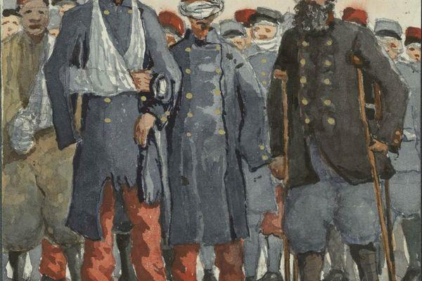 Les blessés dans les rues de Dijon - Aquarelle extraite de l'un des Manuscrits du Lieutenant-Colonel Guillaume Cullard (Bibliothèque Patrimoniale et d'Etudes de la Ville de Dijon)