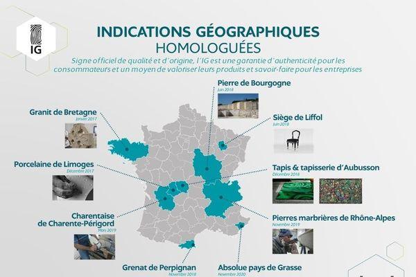 Il existe 10 indications géographiques homologuées par l'INPI en France.