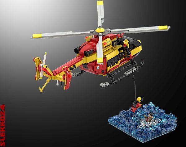 Le projet d'hélicoptère Lego EC-145 ce compose de 1.050 pièces, rouges et jaunes évidemment, avec un treuil extérieur et deux moteurs.