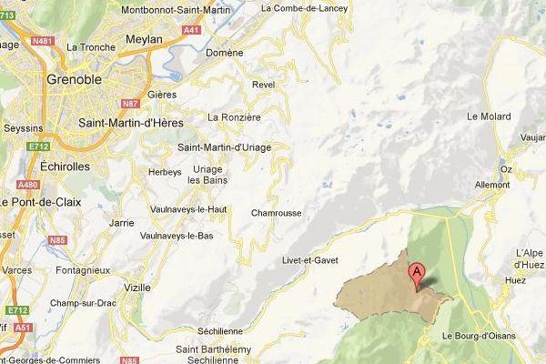 La commune de Oulles, situées à une cinquantaine de km de Grenoble.