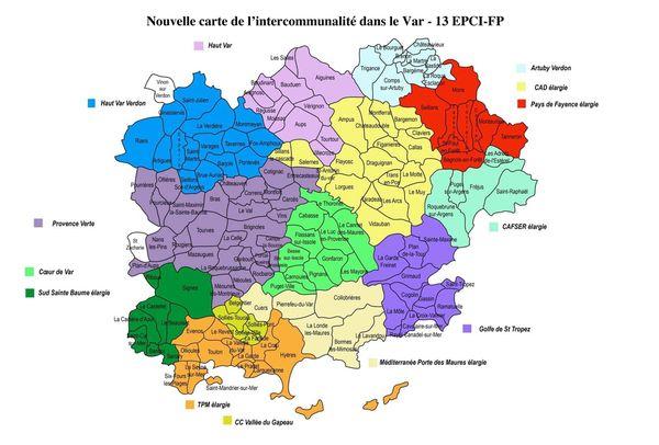 La nouvelle carte de l'intercommunalité dans le Var.