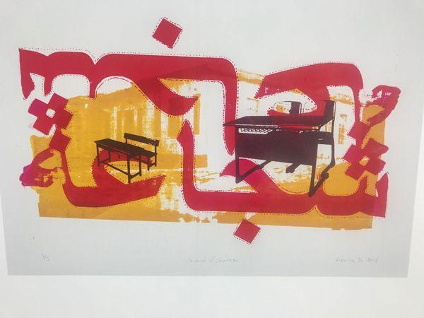 L'oeuvre de Hatice D. Elle y représente l'école de son fils après un bombardement.
