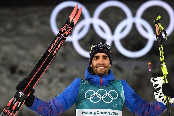 Martin Fourcade décroche la médaille d'or en poursuite, le 12 février 2018