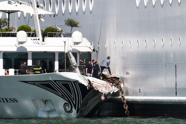 Le  MSC Opera a percuté le quai et un bateau de tourisme à Venise, le 2 juin 2019