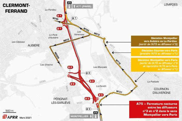 Fermeture de l'A75 entre le diffuseur n°3 Zénith et le diffuseur n°2 Aubière dans le sens Montpellier vers Paris.