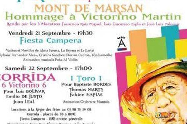 Affiche de la Feria d'Automne de Mont de Marsan avec le portrait de Victorino Martin Andrès.