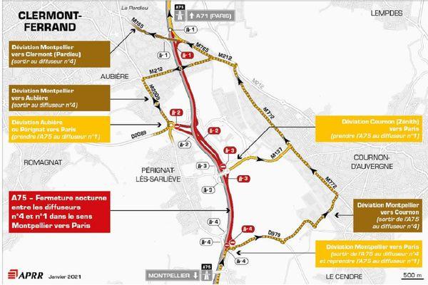 La circulation sera déviée près de Clermont-Ferrand le 4 février sur l'autoroute A75.