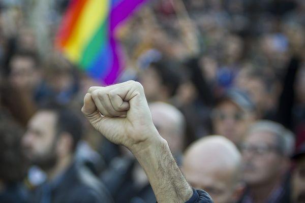 Rassemblement contre l'homophobie, place de la République à Paris, le 21 octobre 2018