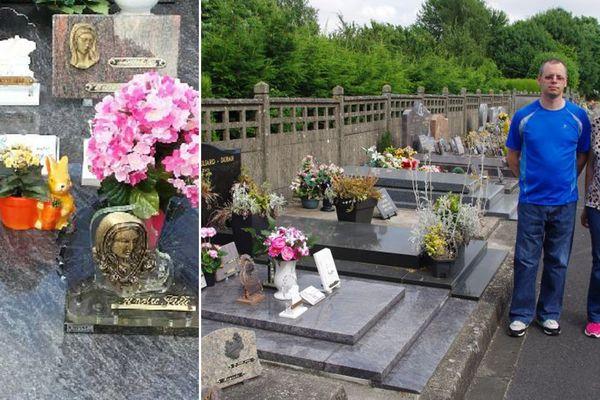 Mike et Catherine Delhaye près de la tombe de leur bébé, décédé en 2004