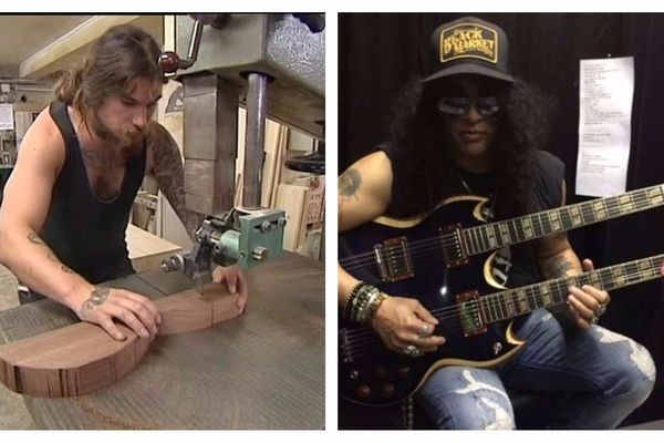 """Il y a deux ans, nous filmions pour un feuilleton intitulé """"Bois d'Enfer"""", la réalisation d'une guitare double manche. Le luthier Valentin Novo s'est décidé à l'offrir à Slash. La star du rock a apprécié le geste. mais aussi l'instrument."""