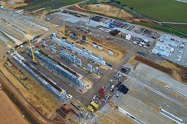 Montpellier - le site en travaux de la future gare TGV Montpellier Sud-de-France - 24 mars 2016.