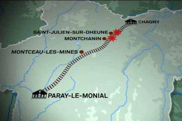 La Résistance réalisa plusieurs opérations de sabotages de train en Saône-et-Loire pendant la Seconde Guerre mondiale.