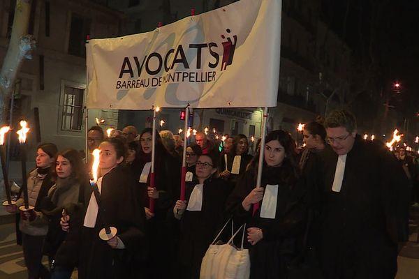 Montpellier - les avocats dans la manifestation - 30 janvier 2020.