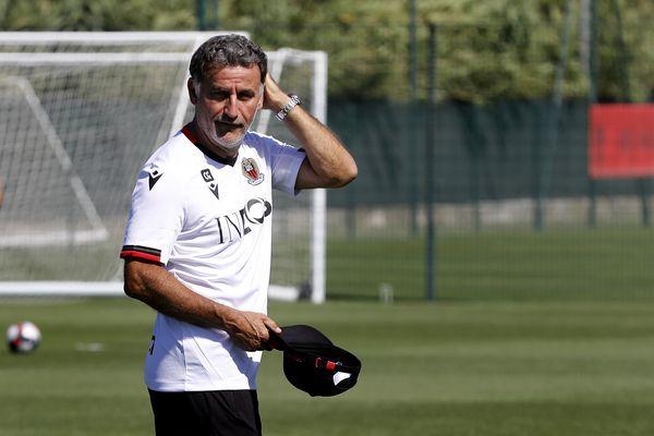 Christophe Galtier, nouvel entraîneur de l'OGN Nice, lors du premier entraînement mardi 29 juin 2021.