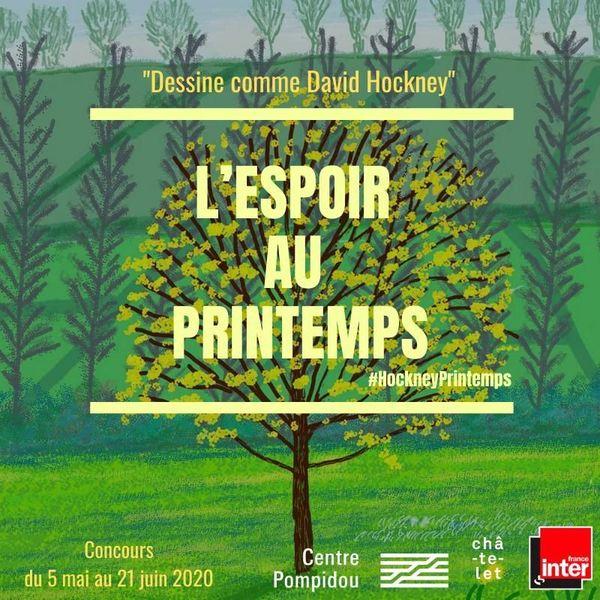 L'affiche du concours de dessin inspiré de l'oeuvre du peintre David Hockney