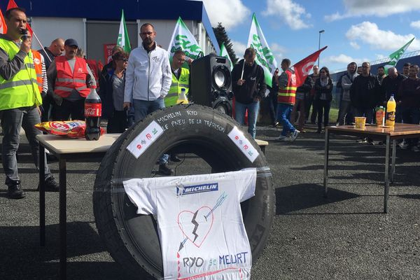 Devaltn l'usine Michelin de La Roche-sur-Yon, le 18 octobre 2019