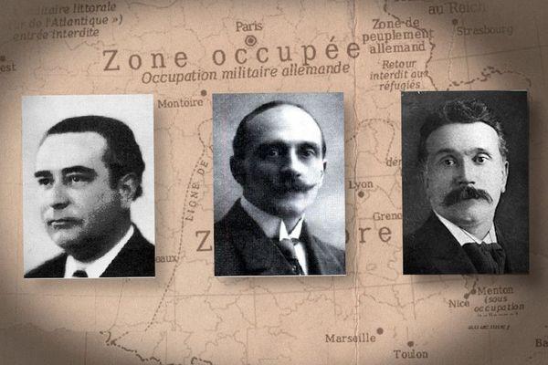 De gauche à droite : Léon Roche, Alexis Jaubert et François Labrousse, les trois parlementaires limousins qui ont voté  contre les pleins pouvoirs à Pétain le 10 juillet 1940 à Vichy