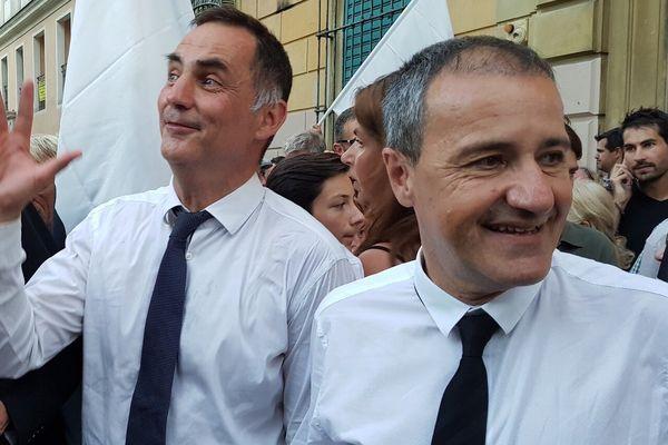 Législatives - L'élection de 3 députés nationalistes en Corse, saluée par Gilles Simeoni, président du Conseil exécurif (G) et Jean-Guy Talamoni, président de l'Assemblée de Corse (D)