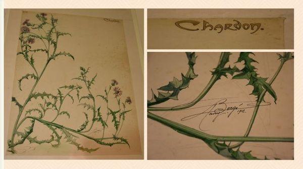 Planche de Henri Bergé et détails de la planche à droite : le nom et la signature
