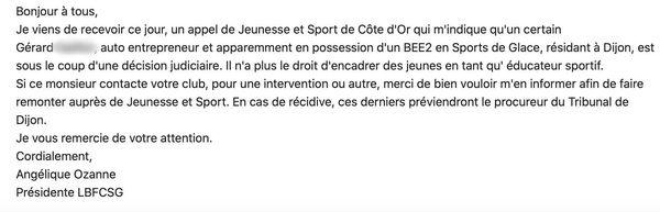 Mail de la Ligue de Bourgogne Franche Comté des sports de glace