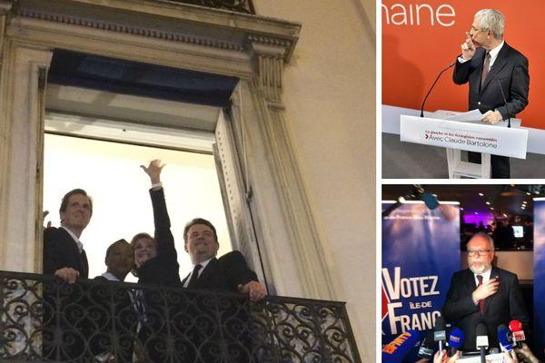Les trois candidats qui se sont affrontés au second tour des régionales 2015 (de g à d) : Valérie Pécresse (LR), Claude Bartolone (PS) et Wallerand de Saint-Just (FN).