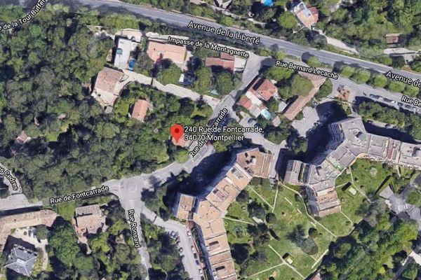 Vue aérienne des deux parcelles arborées objets du litige au 240 rue Fontcarrade à Montpellier.