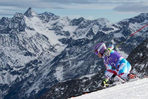 Tessa Worley, lors de sa première manche, au géant d'ouverture du Sölden (Autriche).