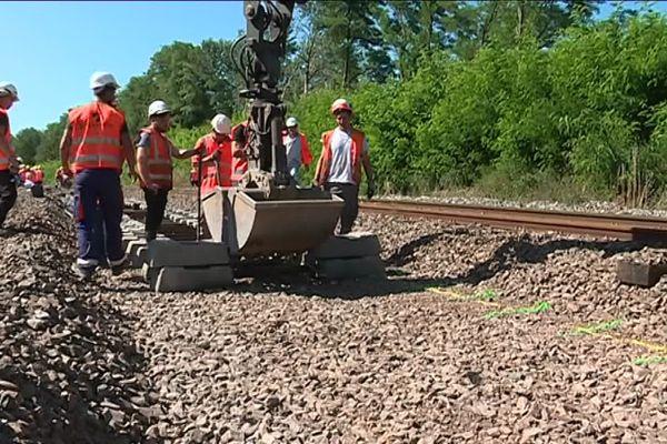 Visite du chantier de la gare de Xertigny sur le tracé de la ligne ferroviaire entre Blainville et Lure.