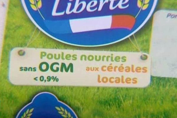L'étiquette appliquée sur les boites d'oeufs de Loué