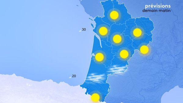 Demain matin, on trouvera quelques brumes ou brouillards en bordure du Limousin, sur la Charente Limousine et le Sud de la Vienne, dans les vallées de la Garonne et de la Dordogne ainsi que dans les plaines landaises.