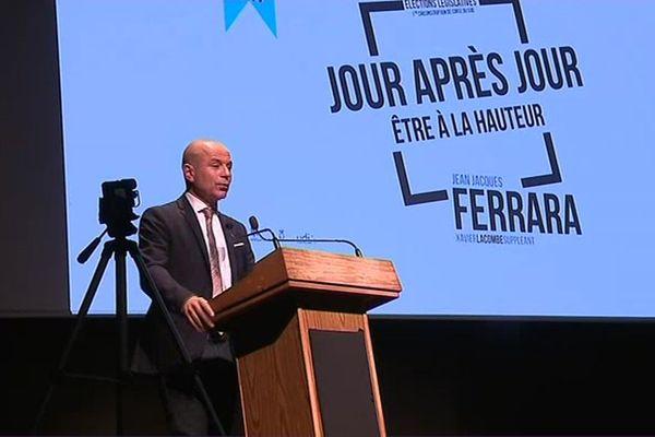 Jean-Jacques Ferrara en meeting au Palais des congrès d'Ajaccio, mercredi 7 juin 2017, lors de la course à la députation.