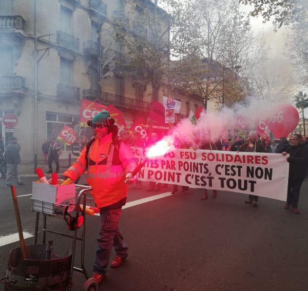 Manifestation contre la réforme des retraites à Perpignan le 12 décembre