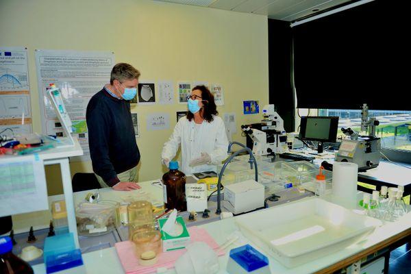 Philipp Hess et Véronique dans leur laboratoire de l'Ifremer à Nantes ont découvert la toxicité de la micro-algue Dinophysis pour les huitres et les larves de poissons