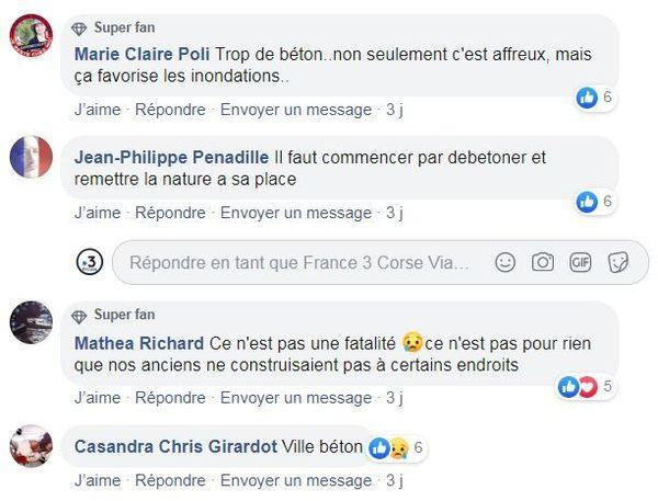 Commentaires sur les réseaux sociaux à la suite des inondations sur la page Facebook de France 3 Corse