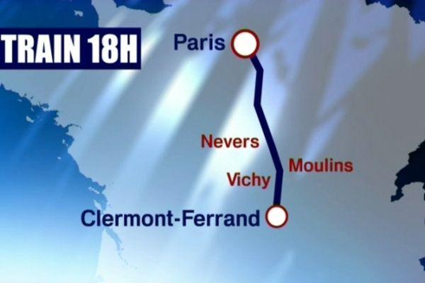Le train de 18h est désormais sans arrêt entre les gares de Paris et Clermont-Ferrand