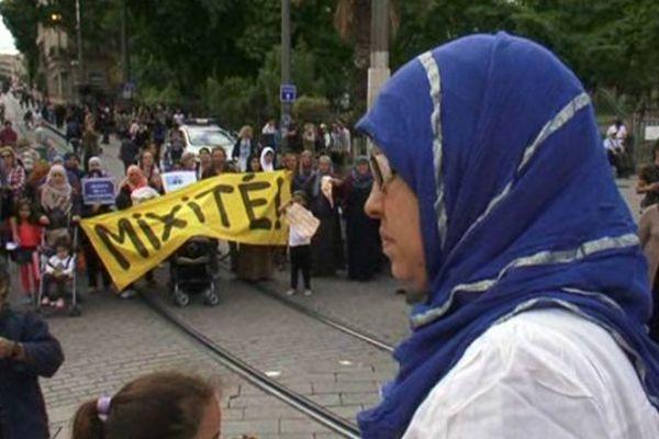 La manifestation des mères du Petit-Bard près de la gare à Montpellier