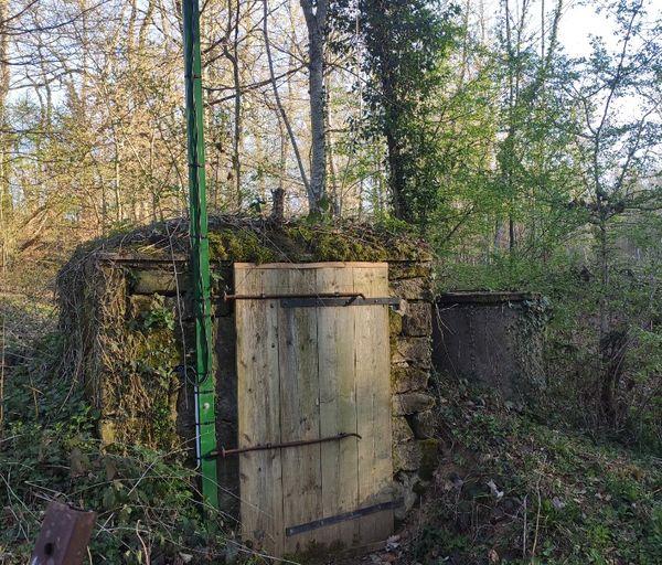 Derrière cette porte située au milieu des bois la pompe.