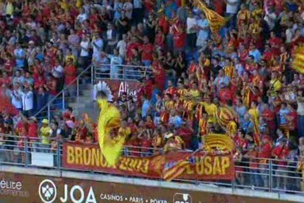 Un public catalan venu nombreux : 12000 spectateurs ont encouragé l'USAP lors de son premier match en Pro D2 contre Colomiers, à Perpignan.