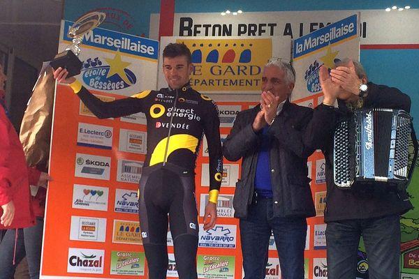 Etoile de Bessèges : Lilian Calmejane vainqueur en solitaire de la 3e étape à Bessèges - 3 février 2017.