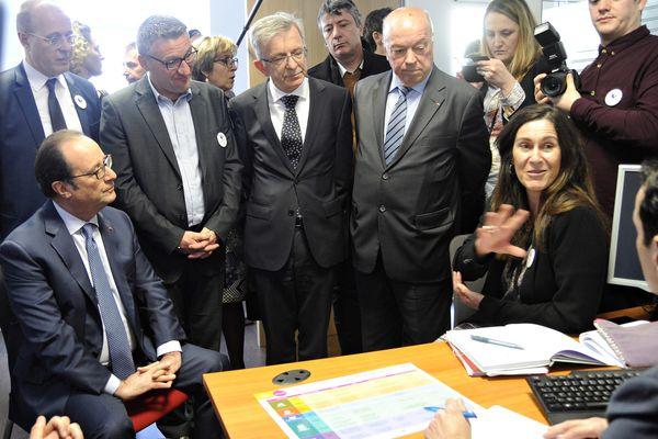 François Hollande en visite dans l'agence Pôle emploi de Montargis Mardi 14 Mars 2017