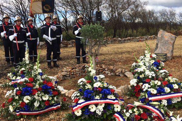 Gabian (Hérault) - hommage au pompier décédé, et aux 3 autres gravement brûlés dans un incendie, le 10 août 2017 un an après le drame.