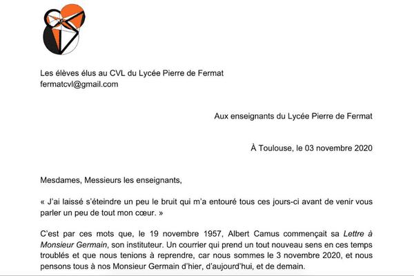 Les élèves du Lycée Pierre Fermat ont décidé de rendre hommage à leurs professeurs à travers cette lettre.