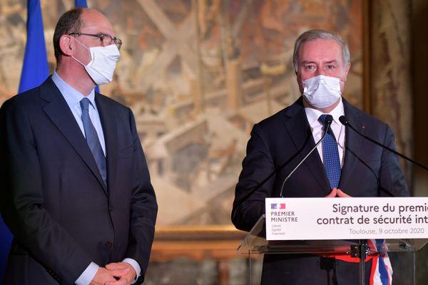 Jean Castex et Jean-Luc Moudenc, le 9 octobre dernier, au Capitole pour la signature du contrat de sécurité intégré