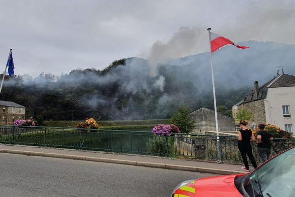 Dix hectares de forêt sont en feu à Bogny-sur-Meuse (Ardennes)