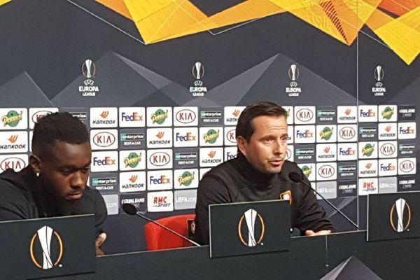 L'entraîneur de Rennes lors de la conférence de presse avant le match contre Cluj (Roumanie) en Ligue Europa ce mercredi 23/10/2019