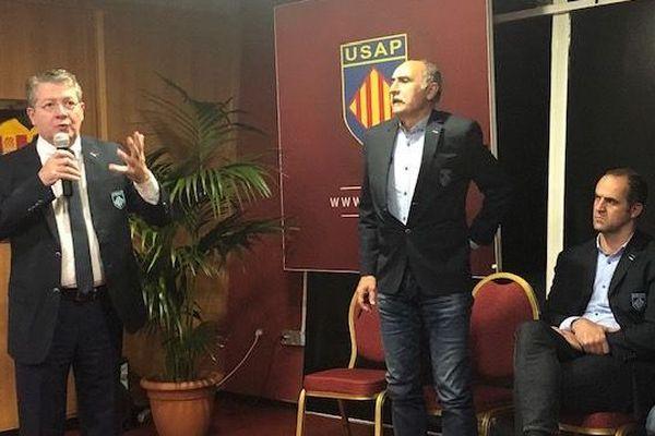 """Le président de l'USAP présentait ce jeudi soir un projet """"USAP 2023"""", censé permettre au club catalan de s'installer dans l'élite du rugby français."""