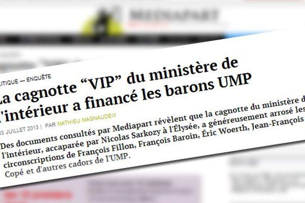 """Capture d'écran du site médiapart.fr - """"La cagnotte """"VIP"""" du ministère de l'intérieur a financé les barons UMP"""""""